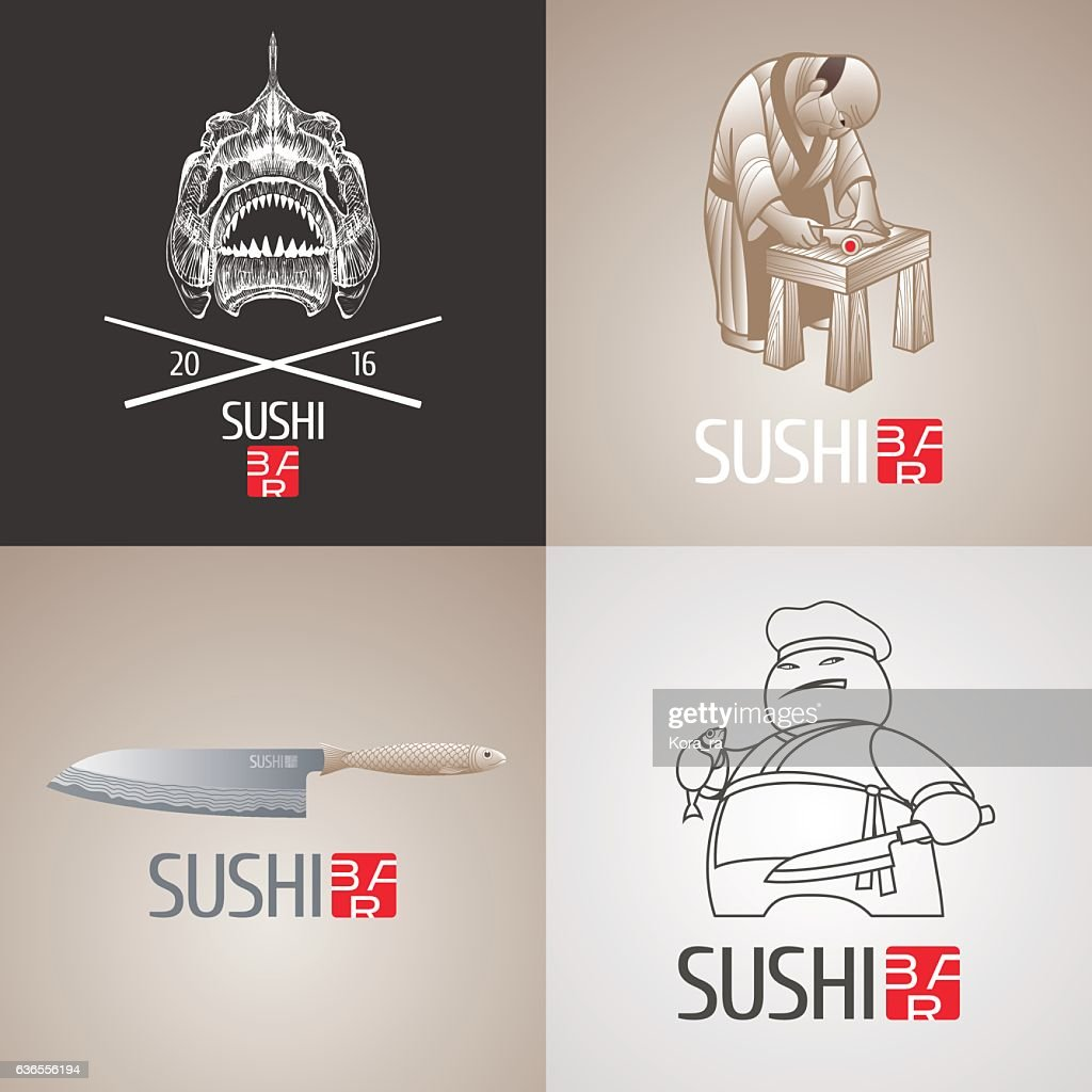 Set of sushi vector template icon, symbol. Isolated design element