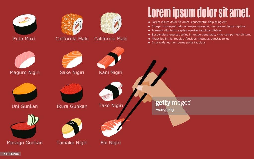Set of Sushi with hand holding chopsticks