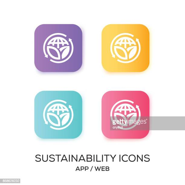 set of sustainability app icon - natural condition stock illustrations, clip art, cartoons, & icons