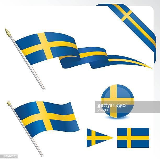 Set of Swedish flag designs on a white background