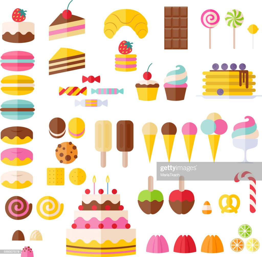 Set of sweet food icons.