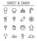 Set of sweets icons in modern thin line style.
