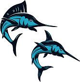 Set of swordfish icons isolated on white background. Design elements for emblem, badge, label, sign. Vector illustration