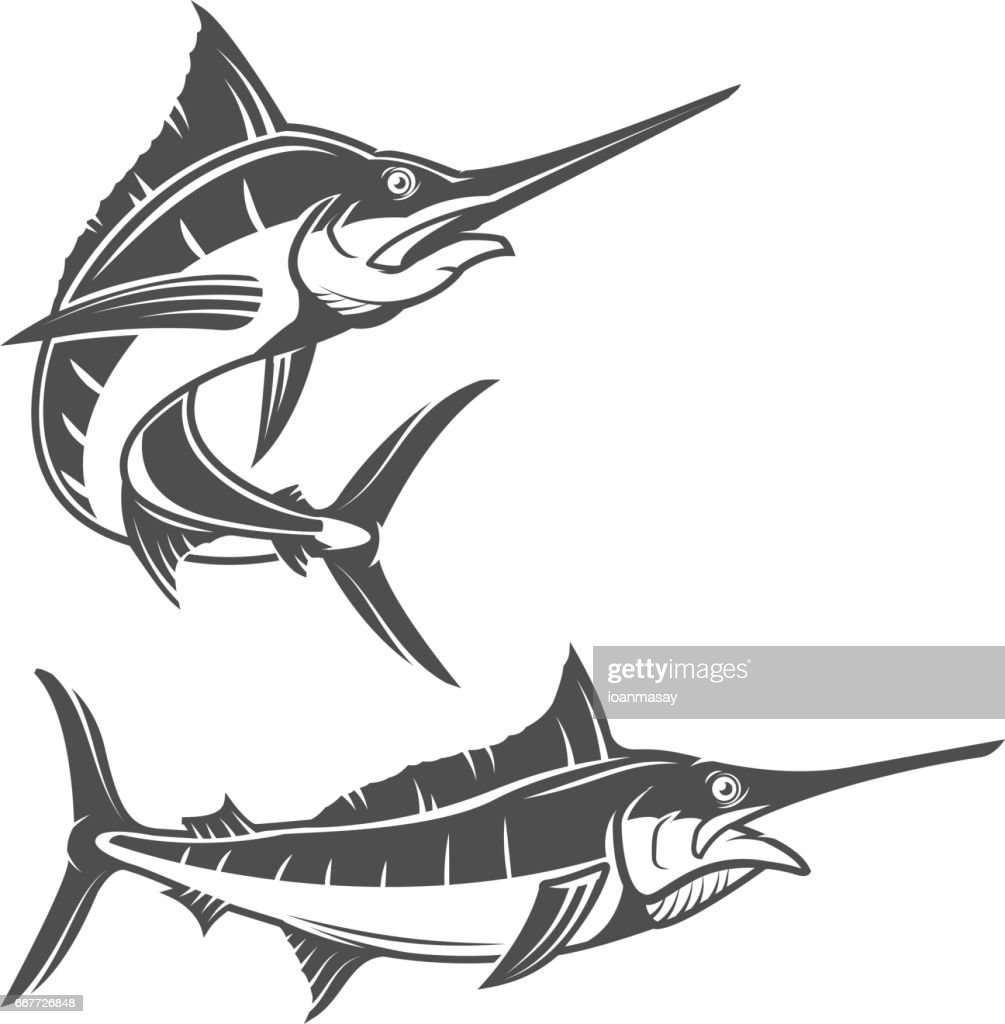 Set of swordfish illustration isolated on white background. Design elements for logo, label, emblem, sign, brand mark.