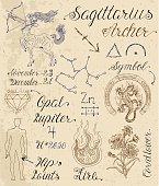 Set of symbols for zodiac sign Sagittarius or Archer