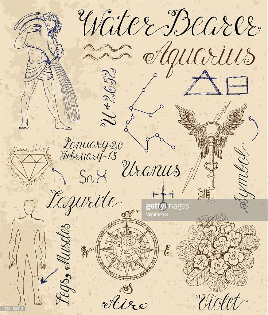 Set Of Symbols For Zodiac Sign Water Bearer Or Aquarius Vector Art
