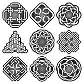Set of symbols in Celtic knots style.