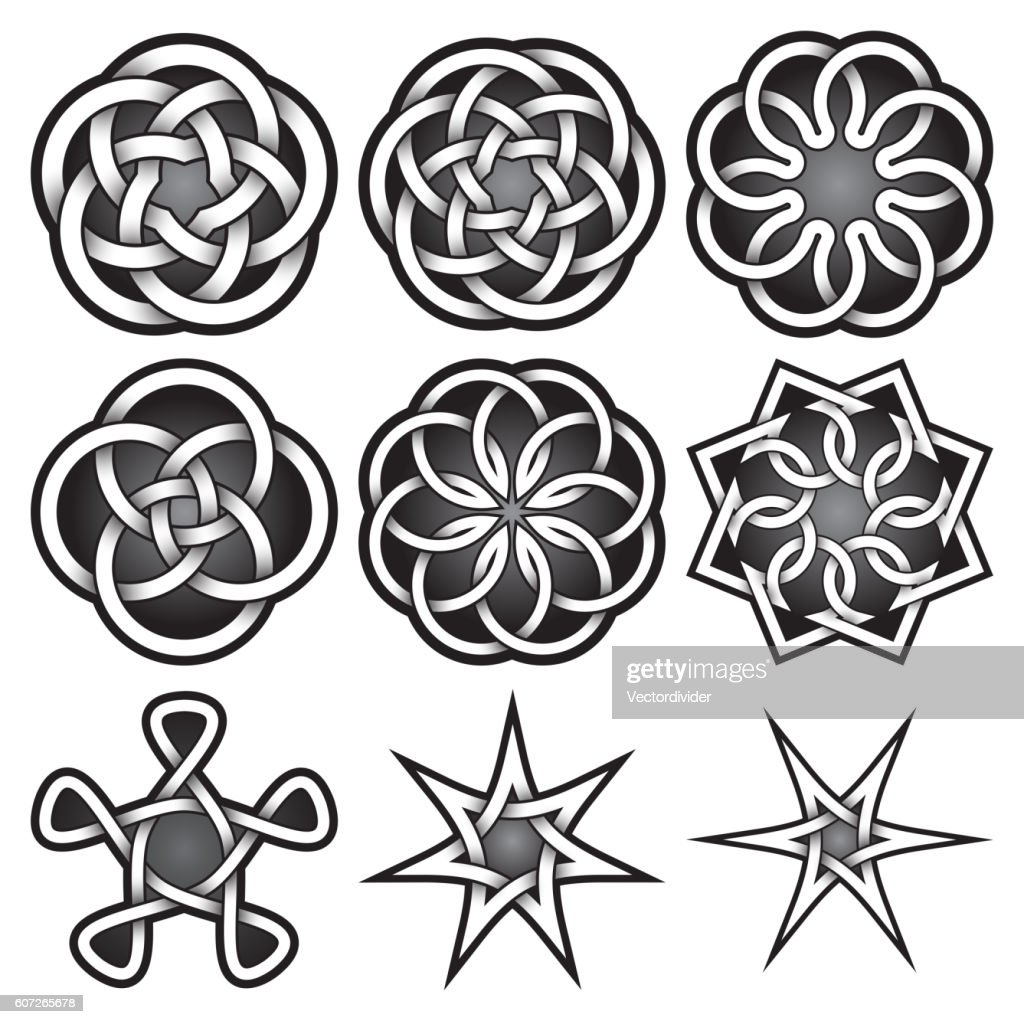 Set of symbols in Celtic knots style.