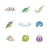 Set of symbols (leaf, shell, flower and ripple)