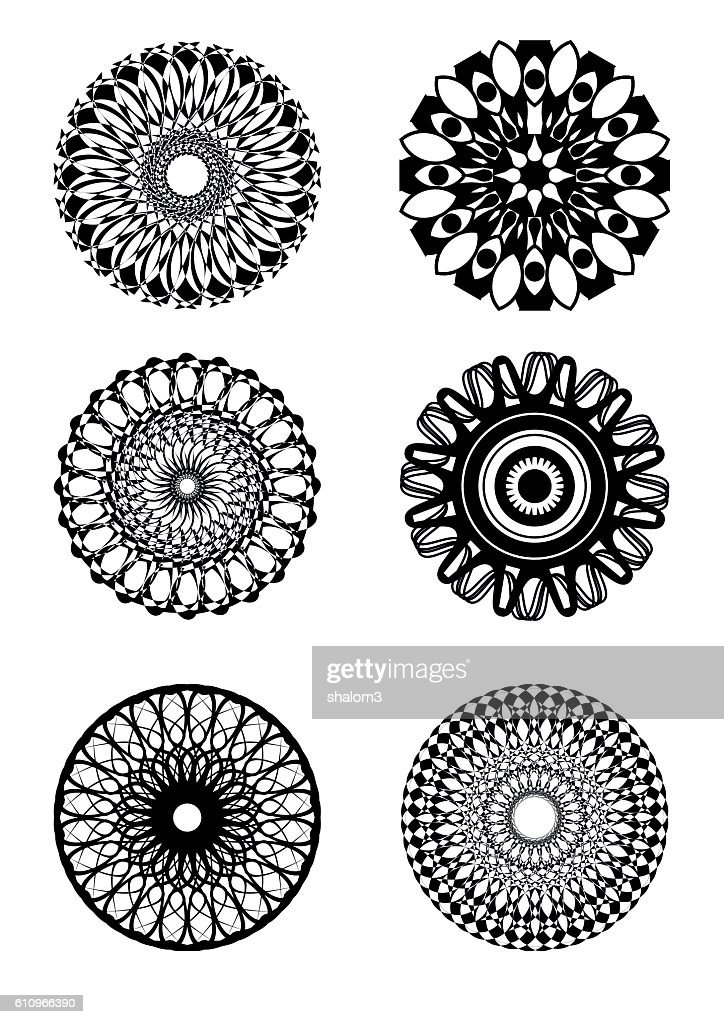 Set of symmetric circle patterns in black and white design