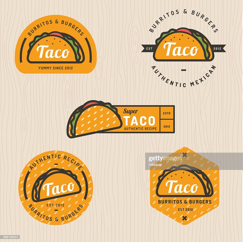 Set of taco logo, badges, banners, emblem for restaurant.
