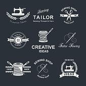 Set of Tailor shop element emblems