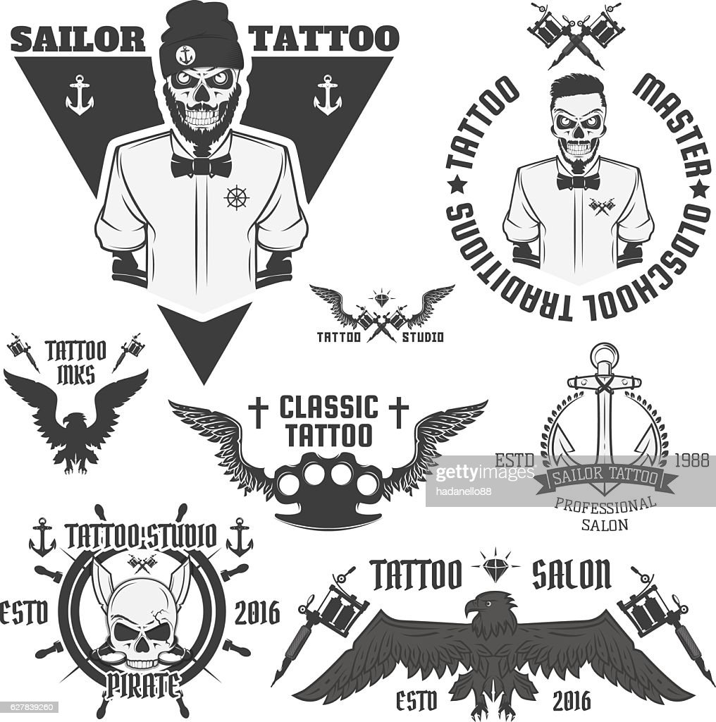 Set of tattoo emblems, elements and tattoo machines.