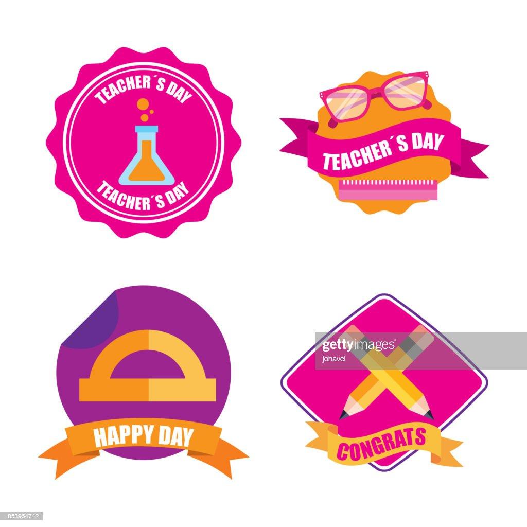 set of teachers day celebration badge decoration