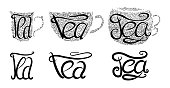 Set of teacups with Lettering and doodle tracery. Hand drawn illustration.