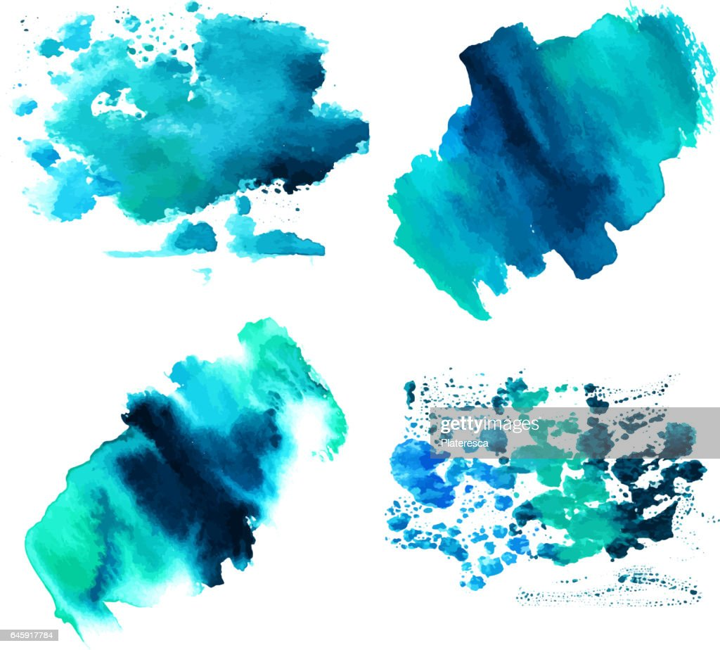 Set of teal blue watercolor textures with brush strokes