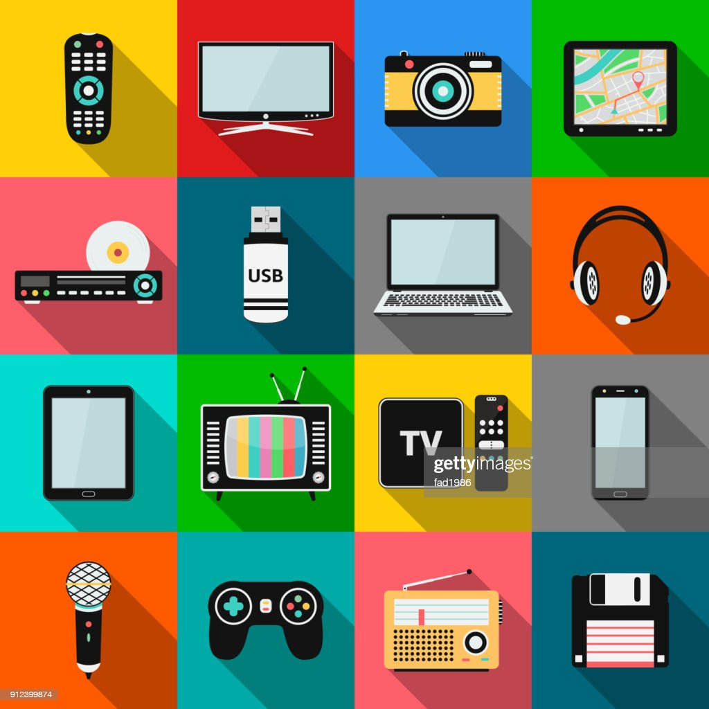 Set of technology and multimedia devices icons with long shadow effect