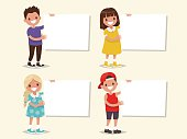 Set of templates. Children hold a board. Vector illustration
