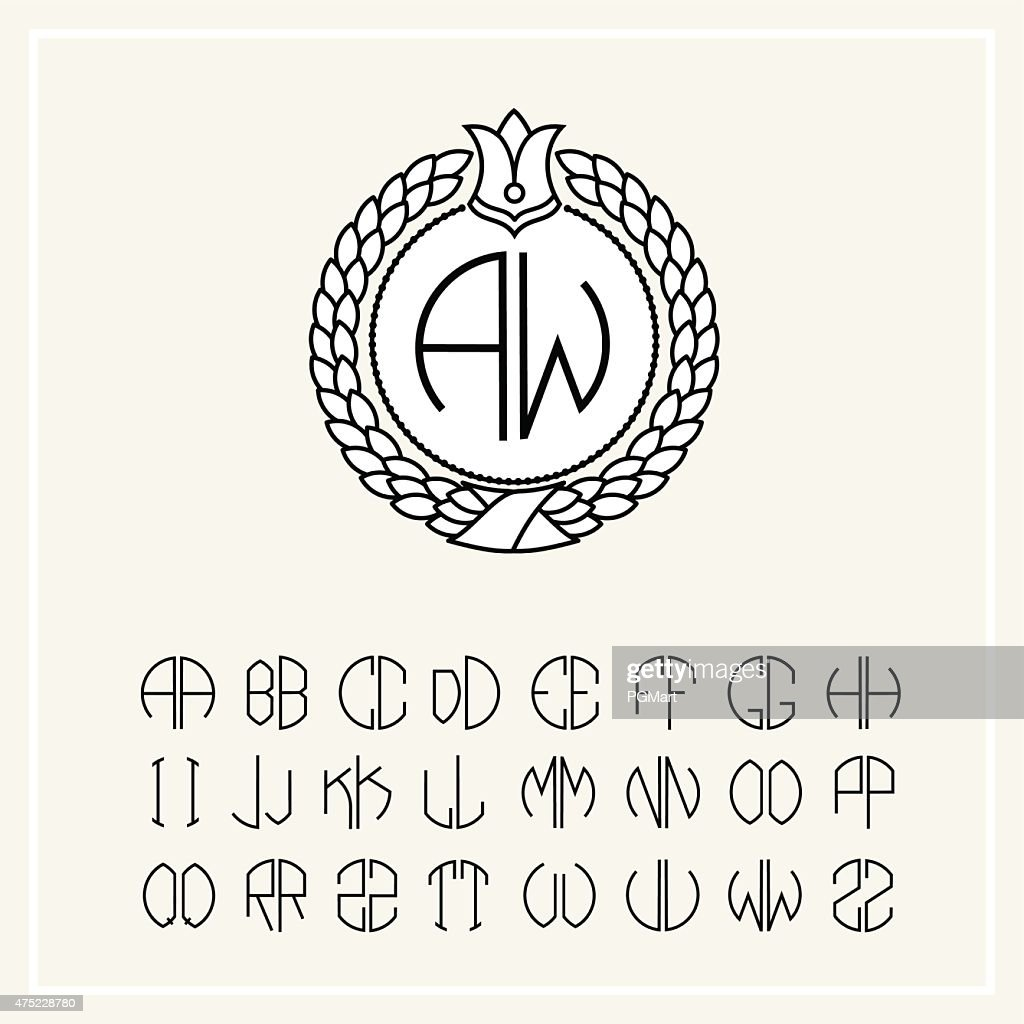Set of templates for creating letters monogram wreath