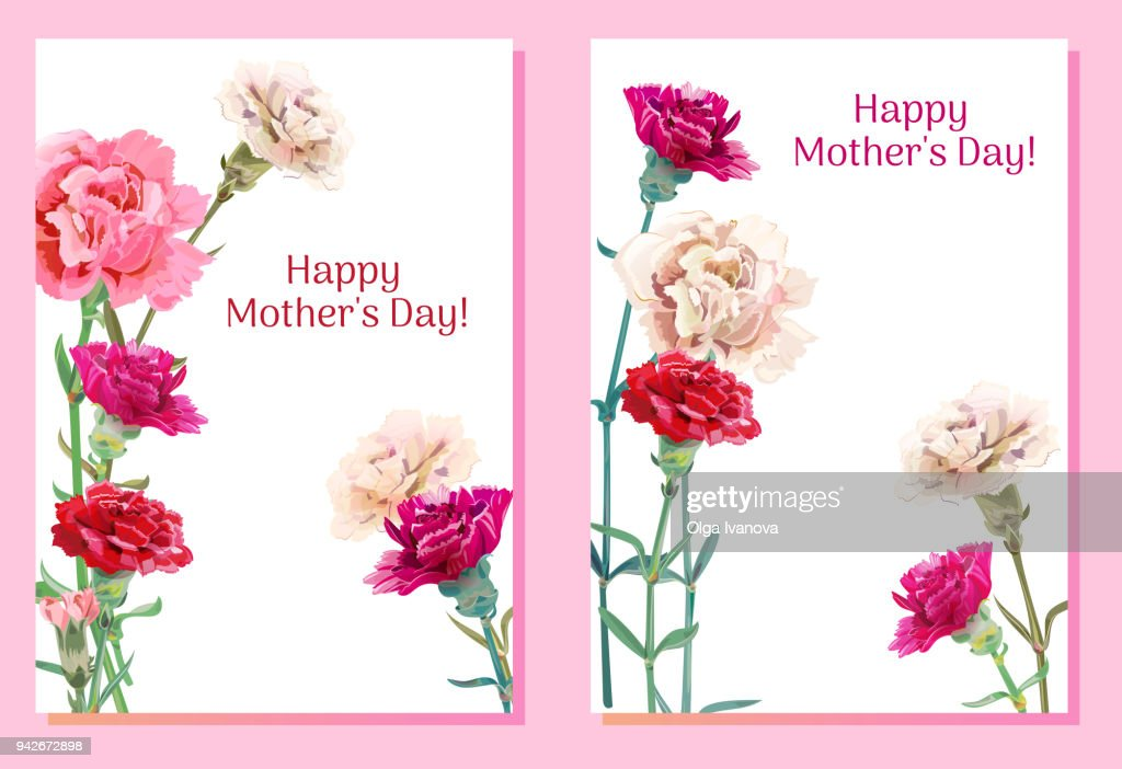Set of templates for Mother's Day: carnation schabaud: red, pink, white flowers, green leaves, vertical frame, white background, hand draw, vintage botanical illustration, vector, A4