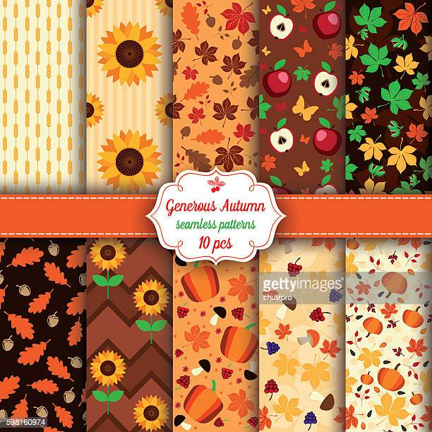 Set of ten Autumn seamless patterns