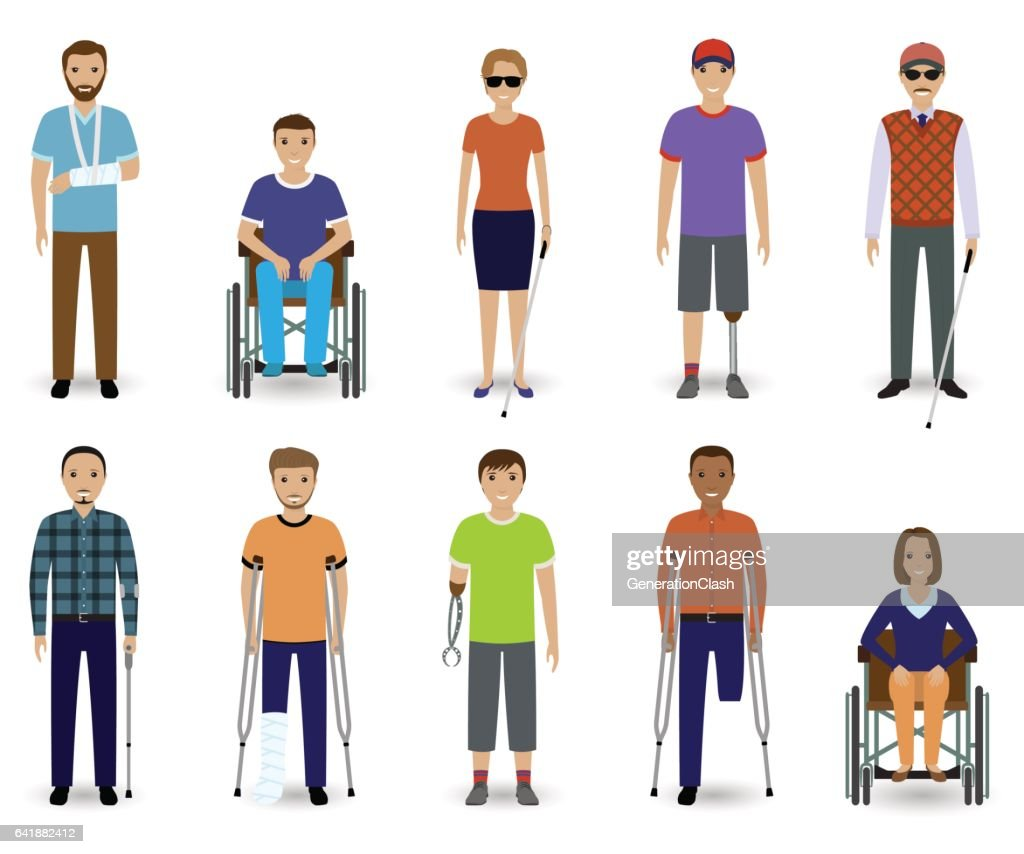 Set of ten disabled people characters. Disability concept. Group of male and female invalid men.