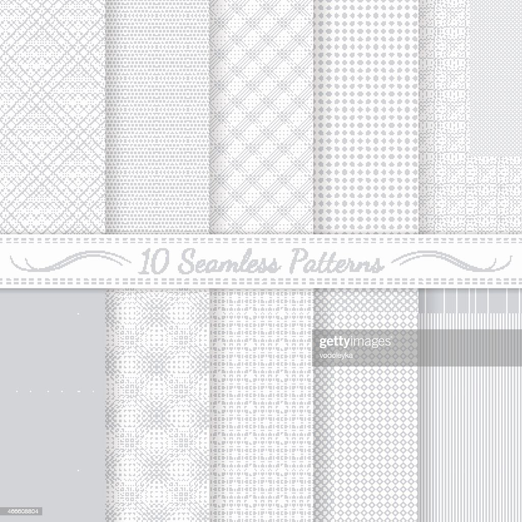 Set of ten grey seamless retro patterns