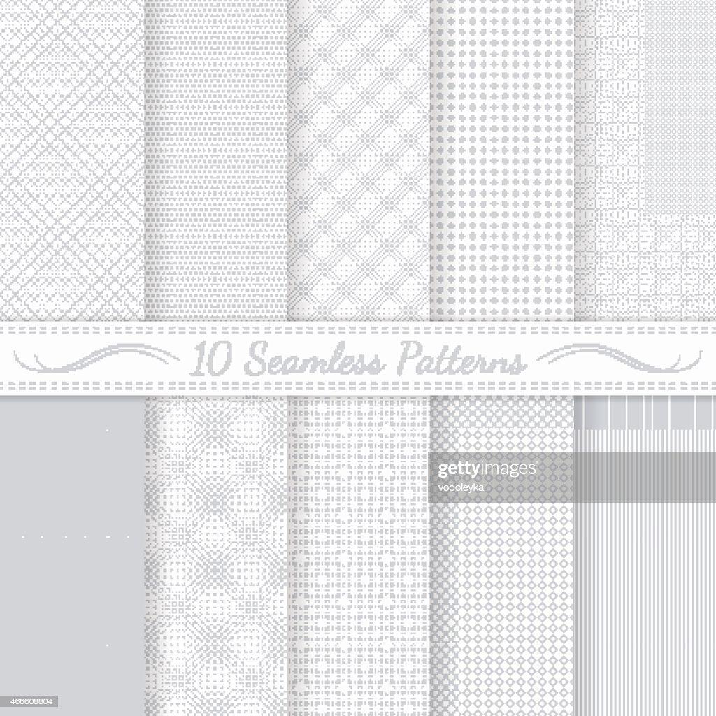 Set of ten grey seamless retro patterns