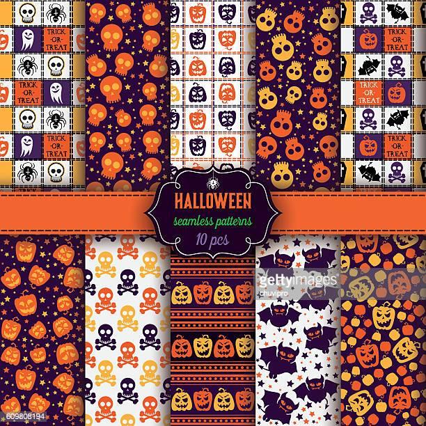 Set of ten Halloween seamless patterns