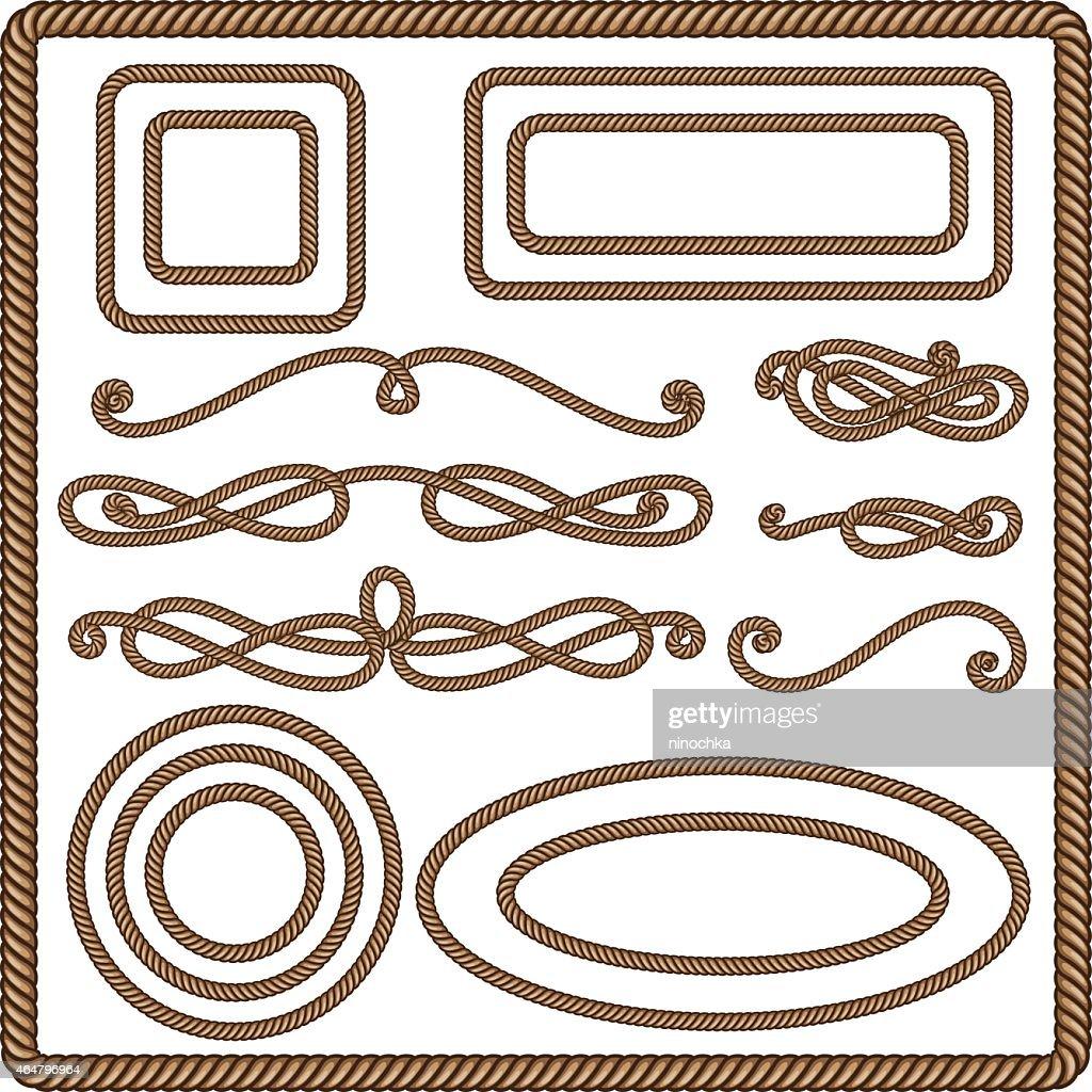 Set of ten rope art illustrations
