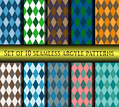 Set of ten seamless argyle plaid patterns.