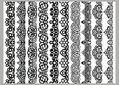 Set of ten seamless endless decorative lines. Indian decoration border  elements patterns in black and white colors.  Could be used as divider, frame, etc. Vector illustrations.