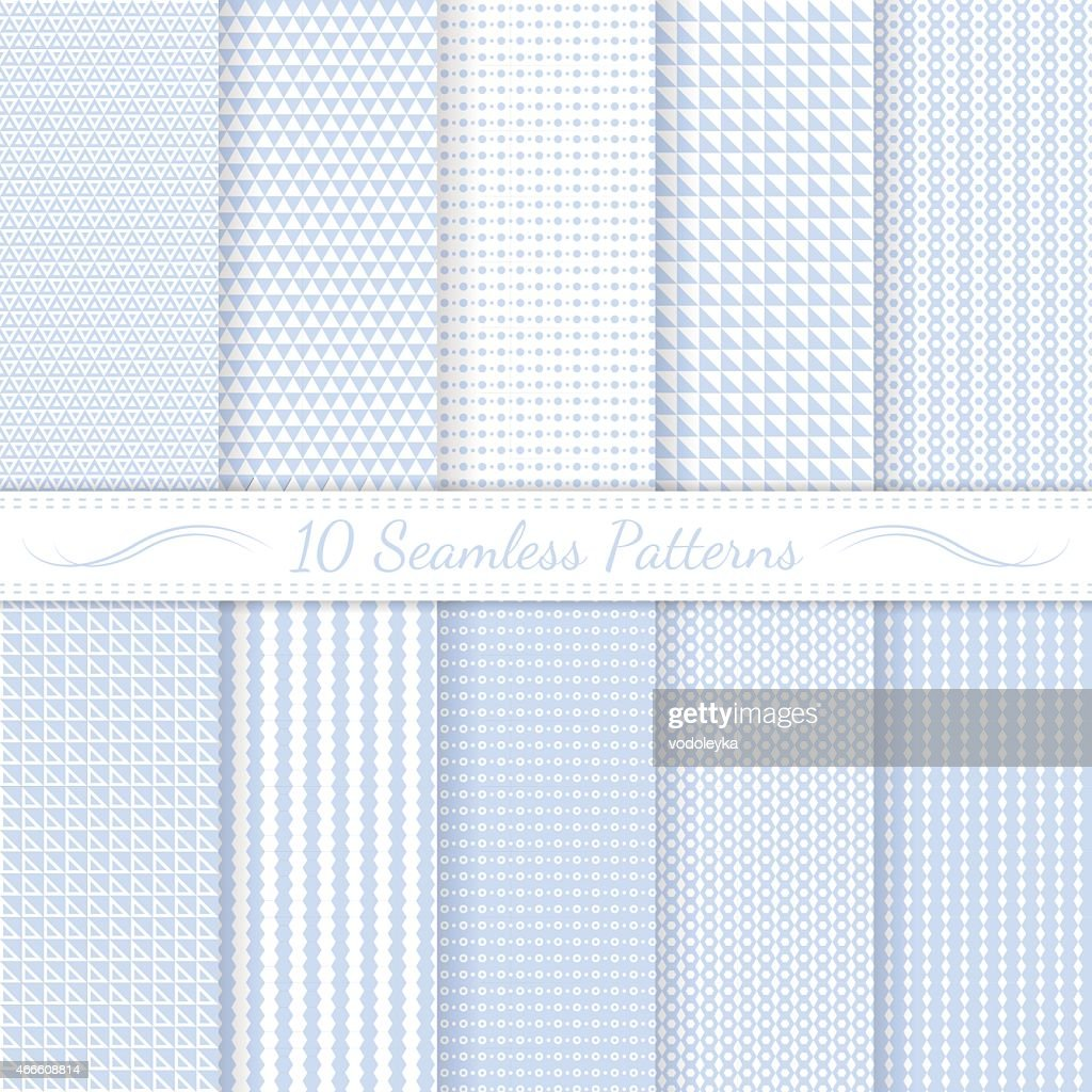 Set of ten seamless patterns in light blue and white