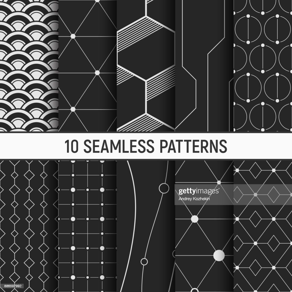 Set of ten seamless patterns.
