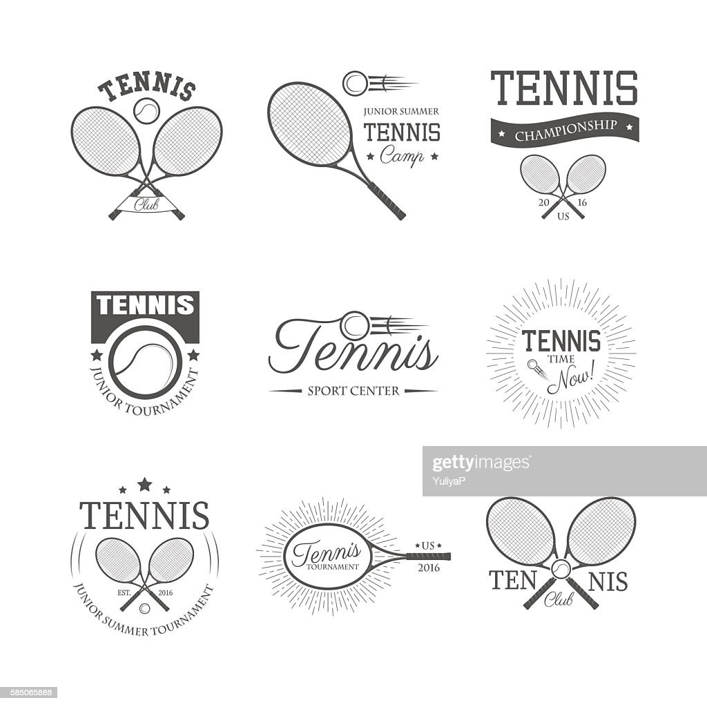 Set of tennis emblems