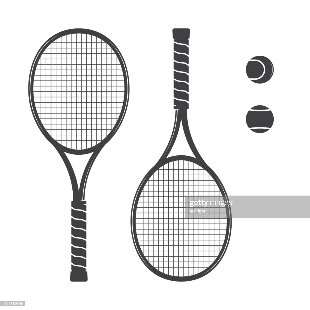 Set of tennis rackets and tennis balls