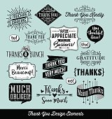 Set of thank you typography design elements with separate distressed layer. Vector illustration.