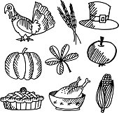 Set of thanksgiving black sketches, vector objects