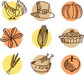 Set of thanksgiving hand drawn icons, isolated vectors