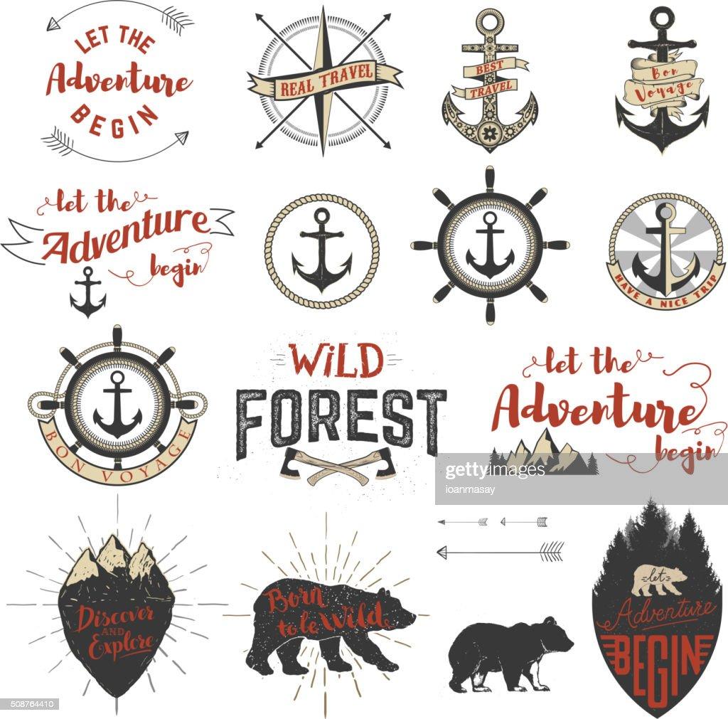 Set of the  adventure labels, emblems and design elements.