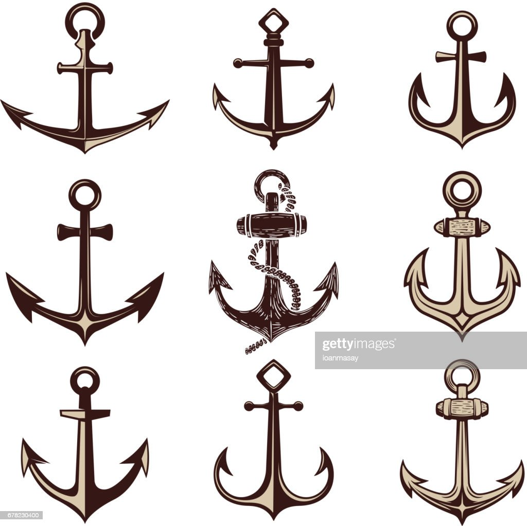 Set of the anchors. Design element for  label, emblem, sign. Vector illustration.