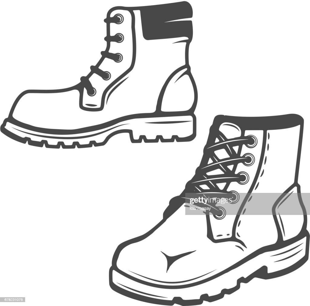 set of the boots icons isolated on white background. Images for  label, emblem. Vector illustration.