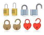 A set of the closed and open locks