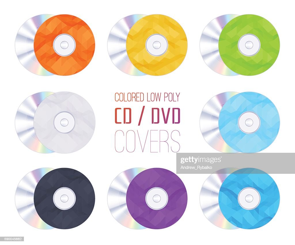 Set of the colored low poly CD-DVD covers