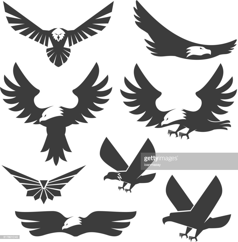 Set of the eagles icons and logo templates.