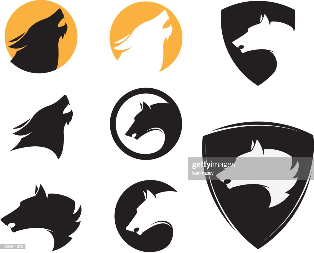 Set of the emblem templates with wolf heads. Design elements