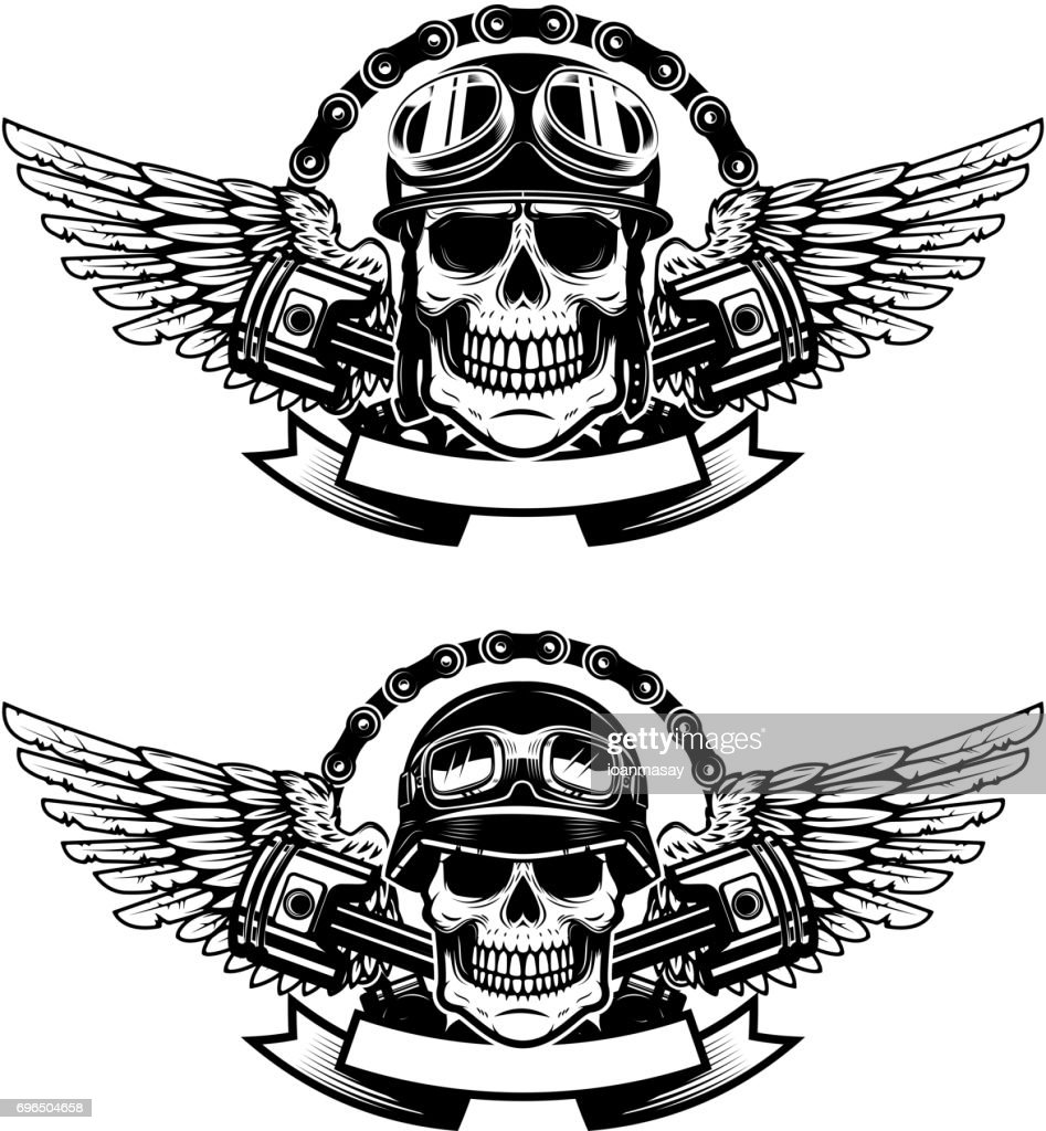 Set of the emblems with racer skulls. Biker club labels. Vector illustrations.