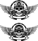 Set of the emblems with racer skulls. Biker club labels. Vector illustrations.
