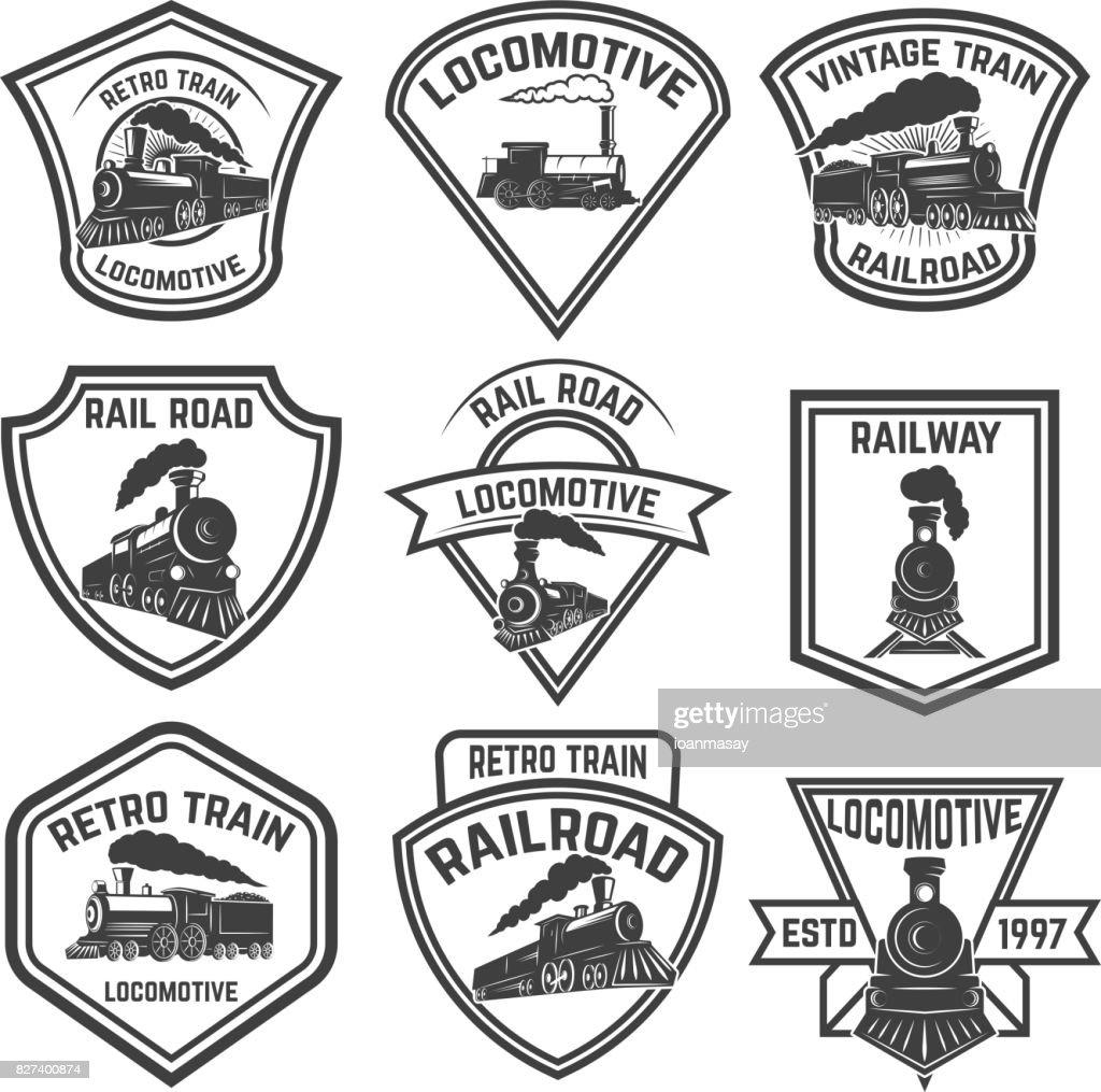 Set of the emblems with vintage trains isolated on white background. Design elements for label, emblem, sign, badge. Vector illustration