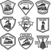Set of the emblems with vintage trains isolated on white background. Design elements for label, emblem, sign, badge. Vector illustration